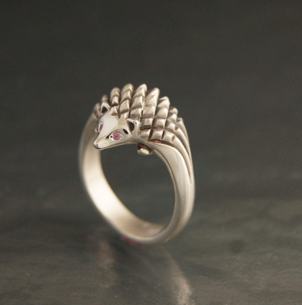 Hedgehog Ring - Silver with Gemstone Eyes