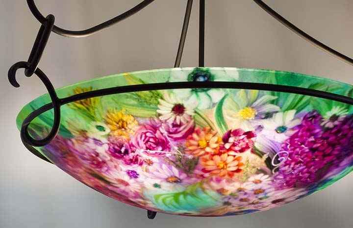 Pale Green Garden Hand Painted Chandelier