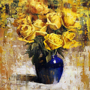 Yellow and Blue Arrangement-Painting-Jerry Markham-Sorrel Sky Gallery