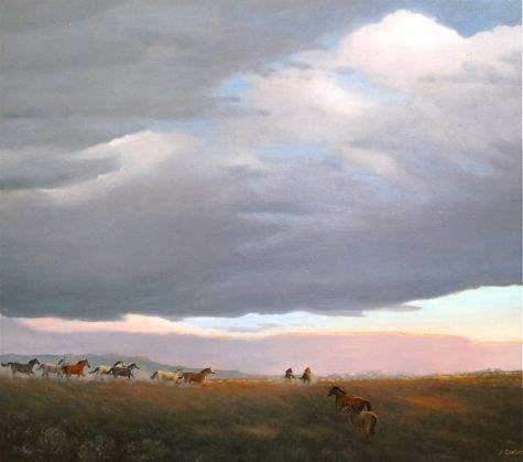 Jim Bagley-Sorrel Sky Gallery-Painting-MC Horses