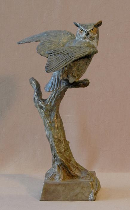 Jim Eppler-Horned Owl I-Sorrel Sky Gallery-Sculpture