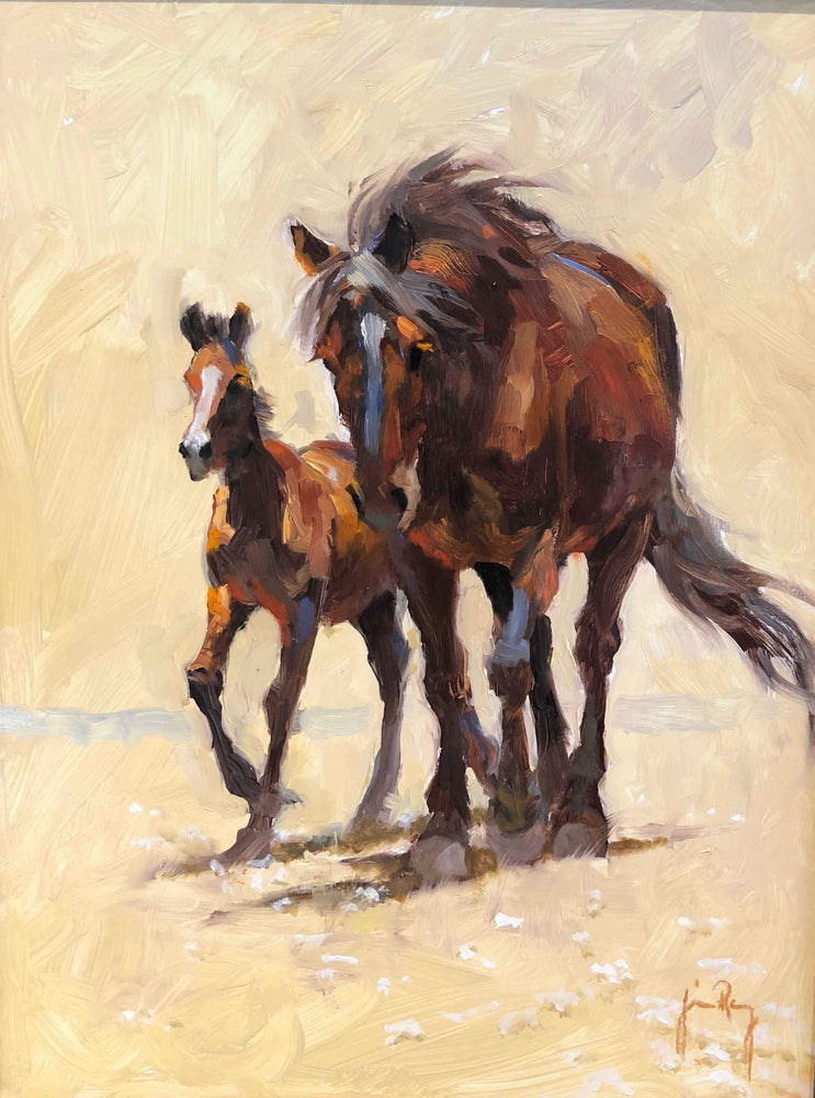 Jim Rey-Mare and Colt-Sorrel Sky Gallery-Painting