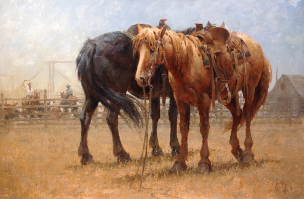 Oil paining of two horses by Colorado artist Jim Rey