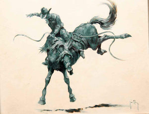 Jim Rey-Saddle Bronc-Sorrel Sky Gallery-Painting