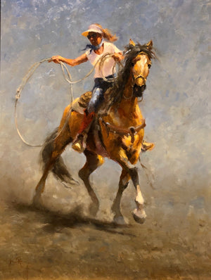 Oil painting of a roping cowgirl by Jim Rey