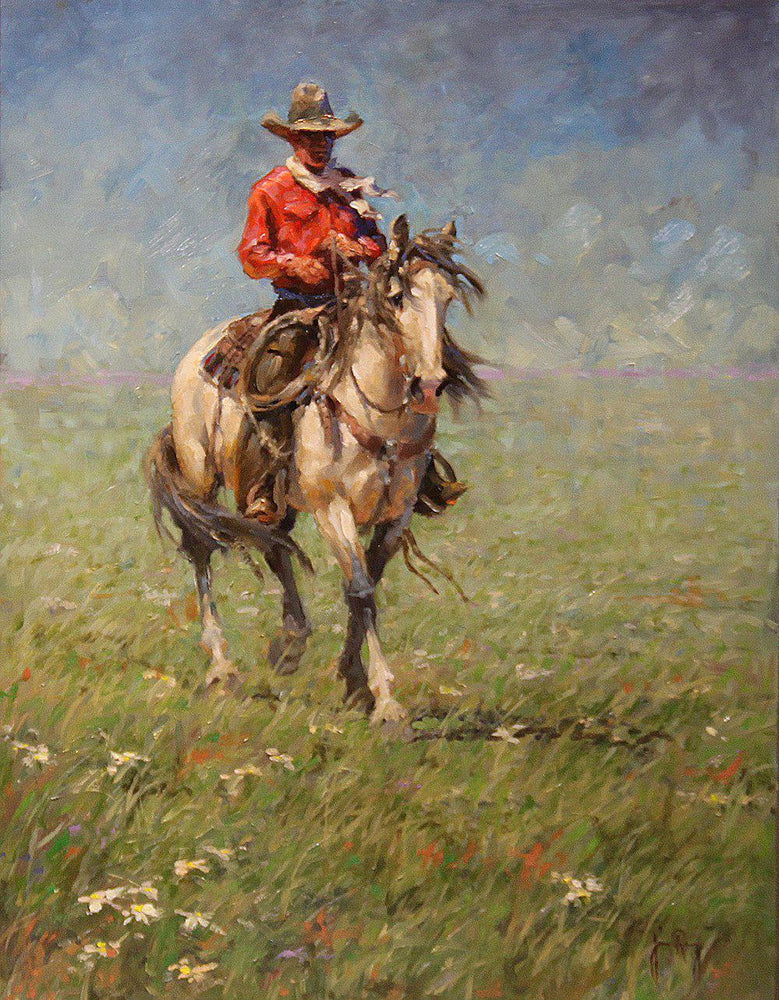 Oil Painting of Western Cowboy mounted on horseback