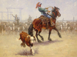 Oil painting of a cowgirl roping a calf by Durango artist Jim Rey