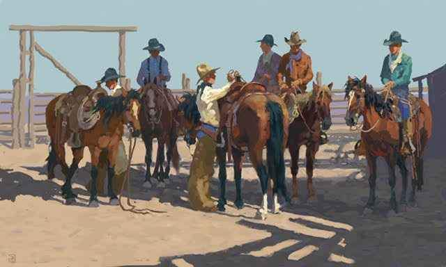 WEstern Art - digital painting of a western scene. Cowboys saddling up their horses on a ranch. Jim Rey. Sorrel Sky Gallery.