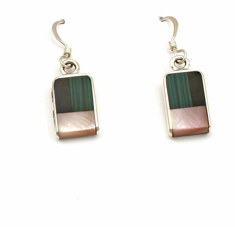 Inlay Rectangular Drop Earrings