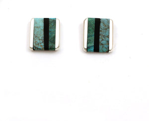 Inlay Rectangular Post Earrings-Jewelry-Jimmy Poyer-Sorrel Sky Gallery