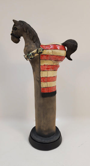 Painted Pony Raku Totem-Pottery-John Booth-Sorrel Sky Gallery