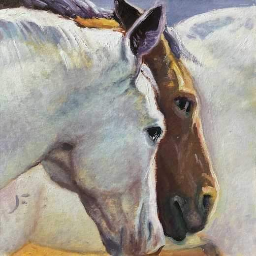 John Farnsworth-Sorrel Sky Gallery-Painting-Two Horse Study