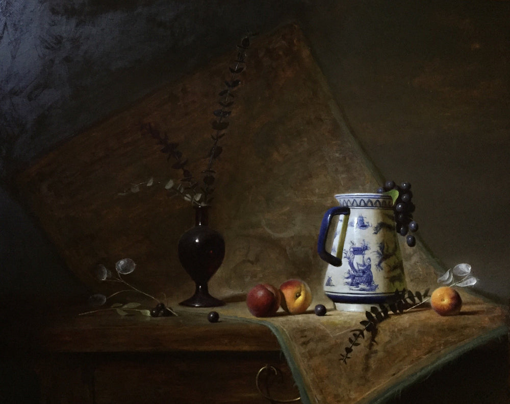 Delft Pitcher and Stone Fruit