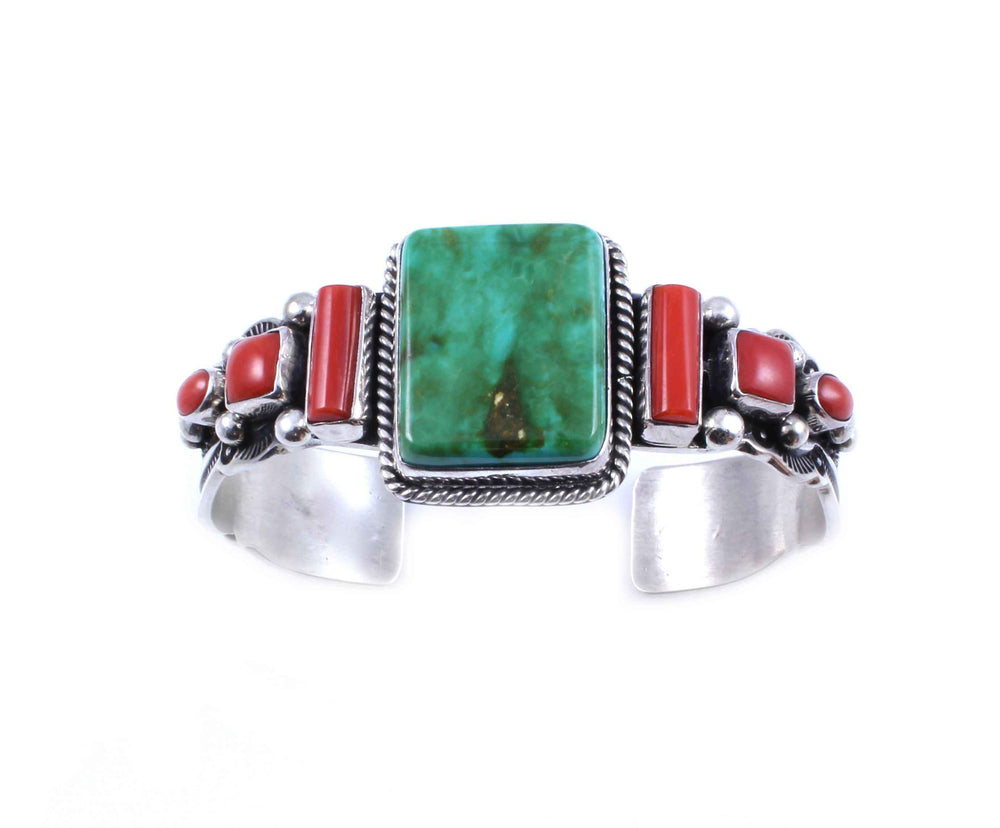 Coral and Green Turquoise Bracelet