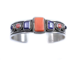 Kaizen-Sorrel Sky Gallery-Jewelry-Japanese Coral And Iolite Cuff