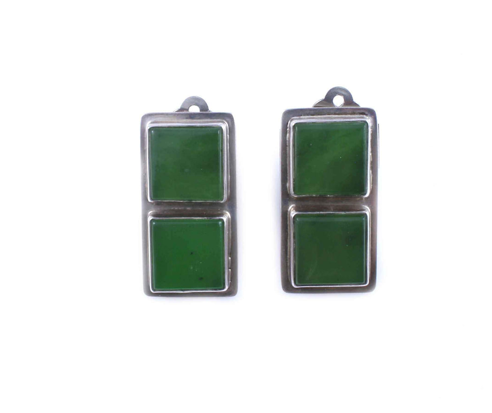 New Zealand Jade Clip On Earrings