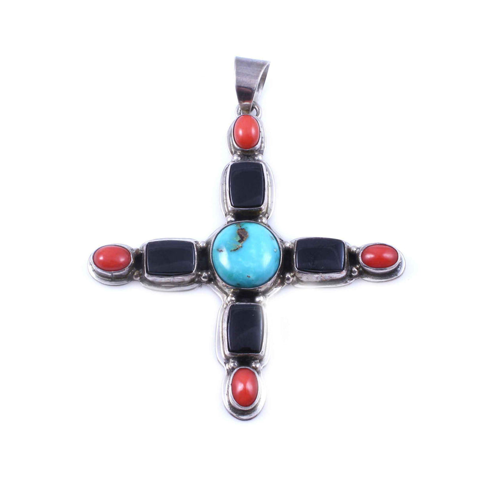 Kaizen-Sorrel Sky Gallery-Jewelry-Turquoise, Onyx And Red Coral Cross