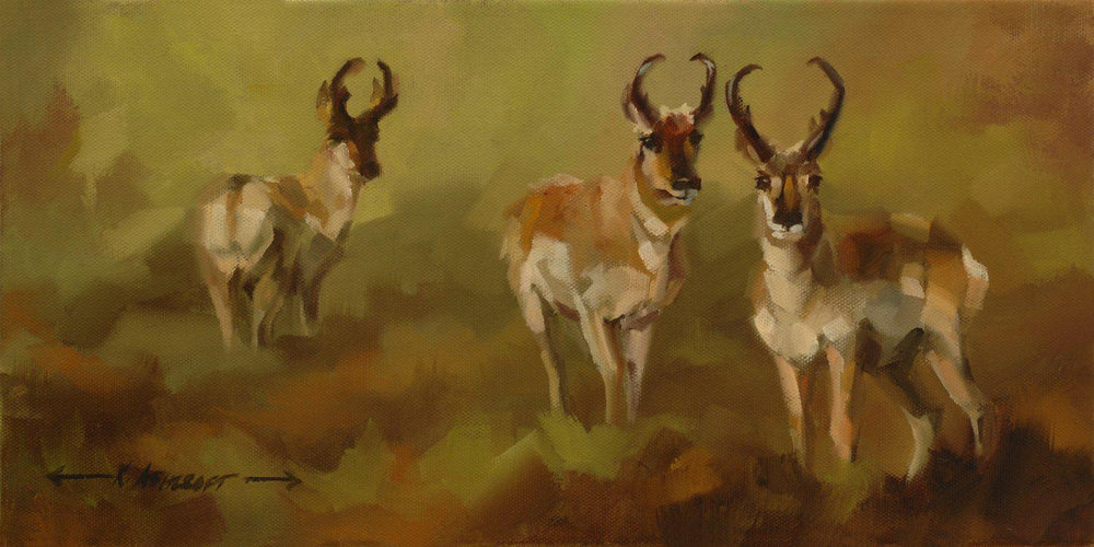 Pronghorn Trio-Painting-Kathryn Ashcroft-Sorrel Sky Gallery