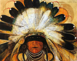 Kevin Red Star-Big Chief With Feather Headdress (Fast Turtle)-Painting-Sorrel Sky Gallery