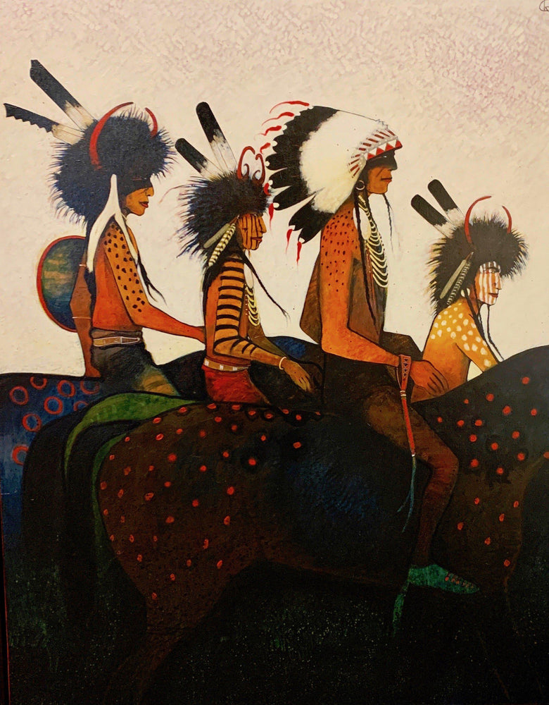 Crow Indian Chief and Medicine Helpers-Painting-Kevin Red Star-Sorrel Sky Gallery