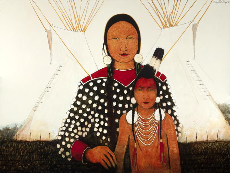 Crow Indian Mother and Son