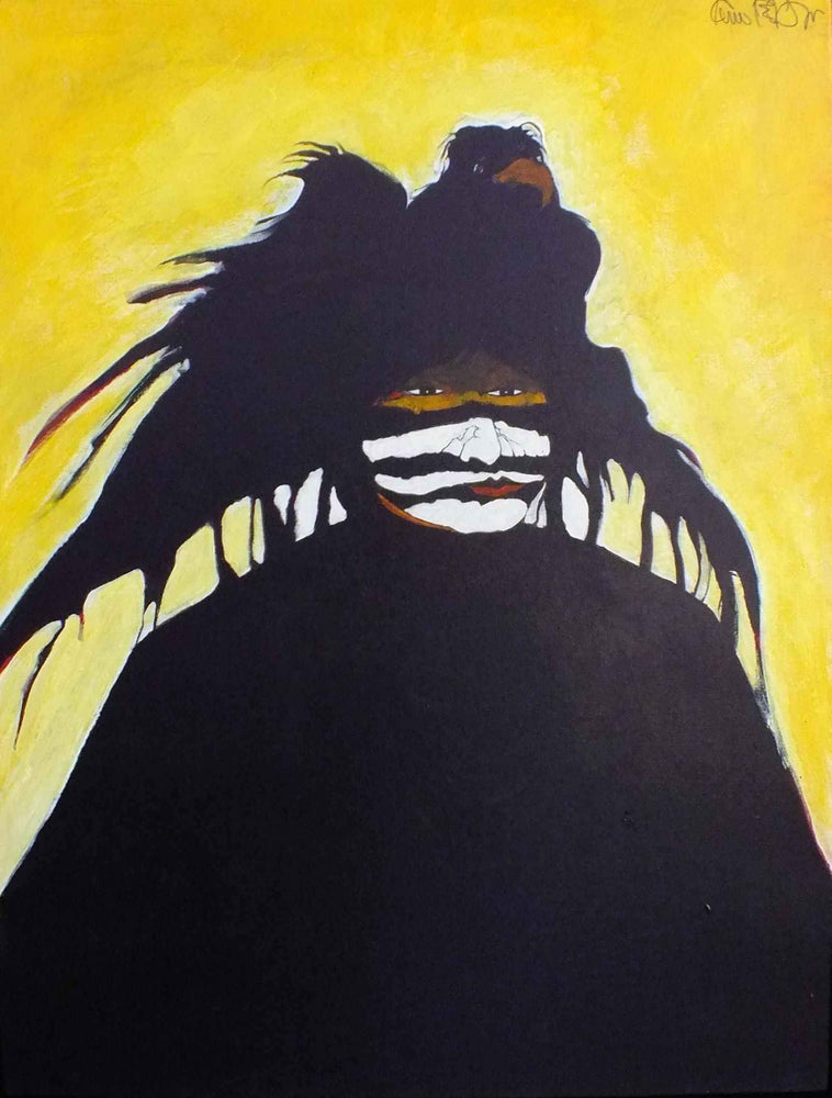 Kevin Red Star-Crow Indian Warrior White Clay Mask-Painting-Sorrel Sky Gallery
