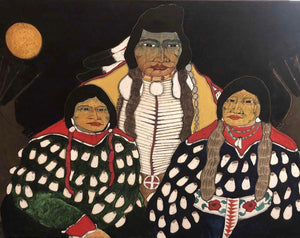 Crow Man and Ladies (1978)-Painting-Kevin Red Star-Sorrel Sky Gallery