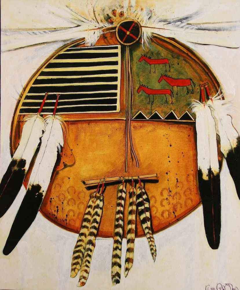 Kevin Red Star-Eagle Feather Shield-Painting-Sorrel Sky Gallery