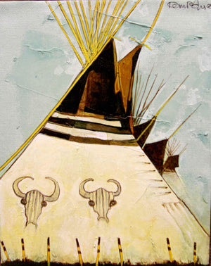 Kevin Red Star-Stripes Tipi (Crow Style)-Painting-Sorrel Sky Gallery