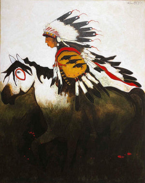 Kevin Red Star-Three Raven - Crow Indian War Horse-Painting-Sorrel Sky Gallery