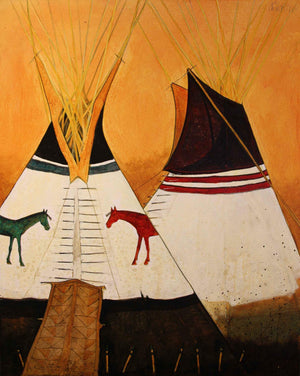 Kevin Red Star-Two Horse Tipi-Painting-Sorrel Sky Gallery