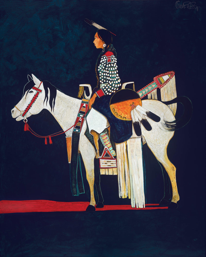 Young Parade Pony and Crow Indian Girl