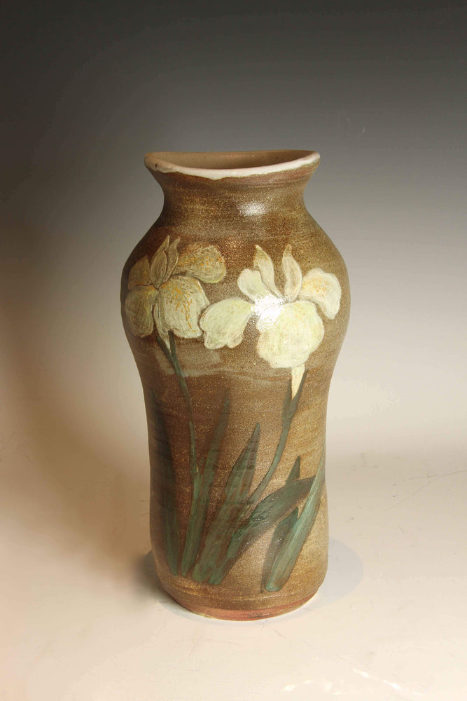 Laura Bruzzese-Sorrel Sky Gallery-Sculpture-Wood-Fired Yellow And White Iris Vase