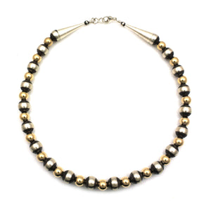 10mm Gold Filled Bead Necklace-Jewelry-Lawrence Baca-Sorrel Sky Gallery