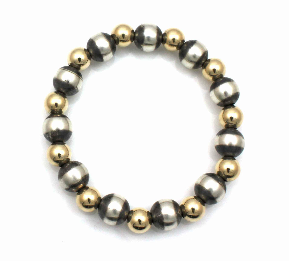 10mm Stretch Bracelet With Gold Filled Beads