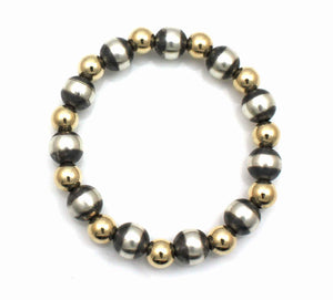 10mm Stretch Bracelet With Gold Filled Beads-Jewelry-Lawrence Baca-Sorrel Sky Gallery
