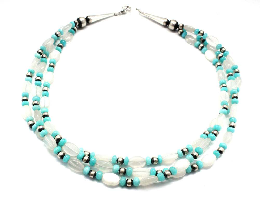 3 Moonstone And Amazonite Bead Necklace