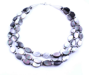 Lawrence Baca-3 Strand Black Mother Of Pearl Necklace-Sorrel Sky Gallery-Jewelry