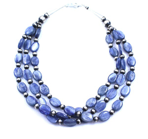 Lawrence Baca-3 Strand Kyanite Necklace-Sorrel Sky Gallery-Jewelry