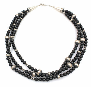 3 Strand Sterling Silver And Onyx Bead Necklace