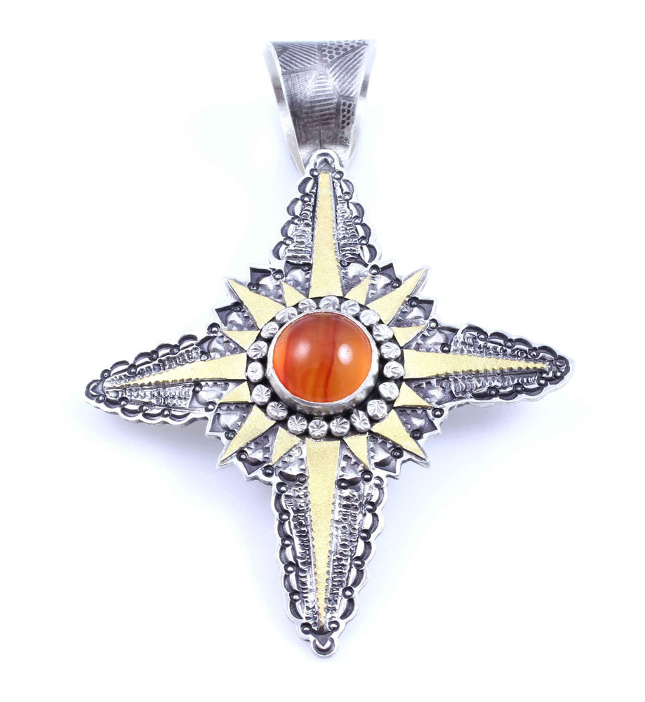 4 Point Star With Carnelian Pendant