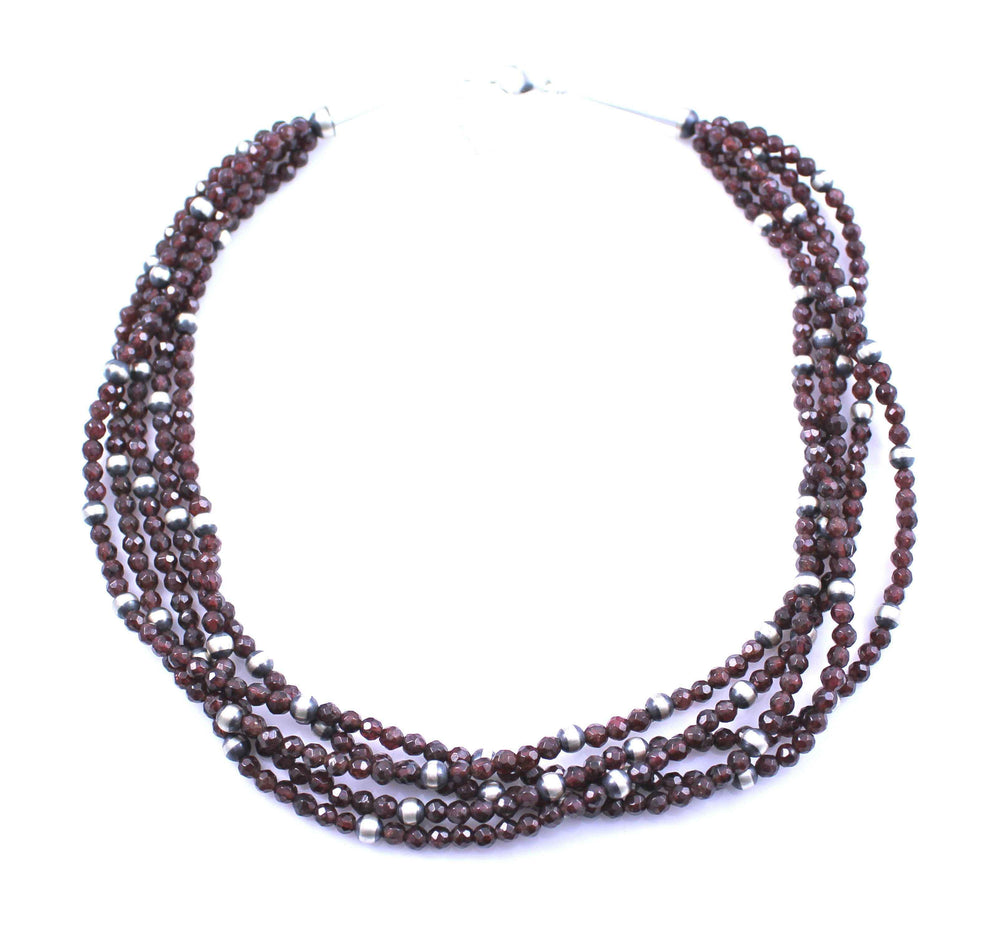 5 Strand Garnet Necklace