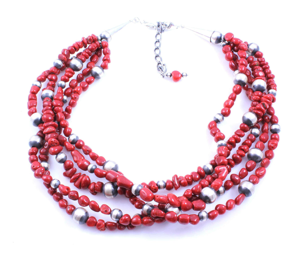 Lawrence Baca-5 Strand Mediterranean Coral Necklace-Sorrel Sky Gallery-Jewelry