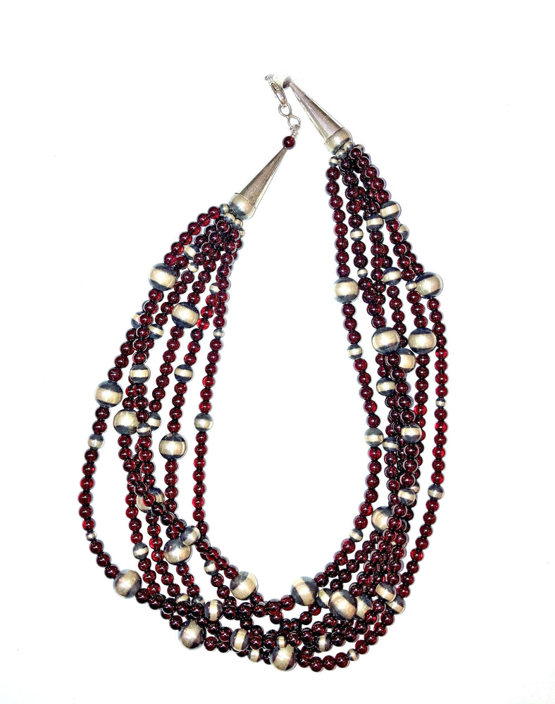 6 Strand Garnet Bead Necklace