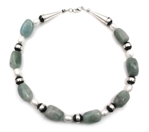 Aquamarine And Fresh Water Pearl Bead Necklace-Jewelry-Lawrence Baca-Sorrel Sky Gallery