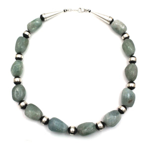 Aquamarine Bead Necklace-Jewelry-Lawrence Baca-Sorrel Sky Gallery