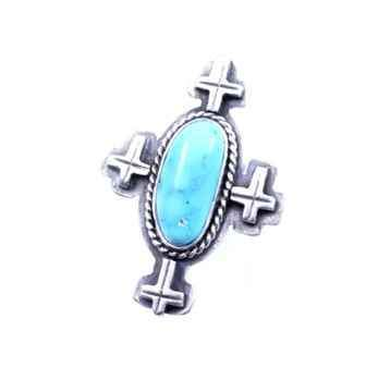 Bisbee Turquoise Ring With Crosses