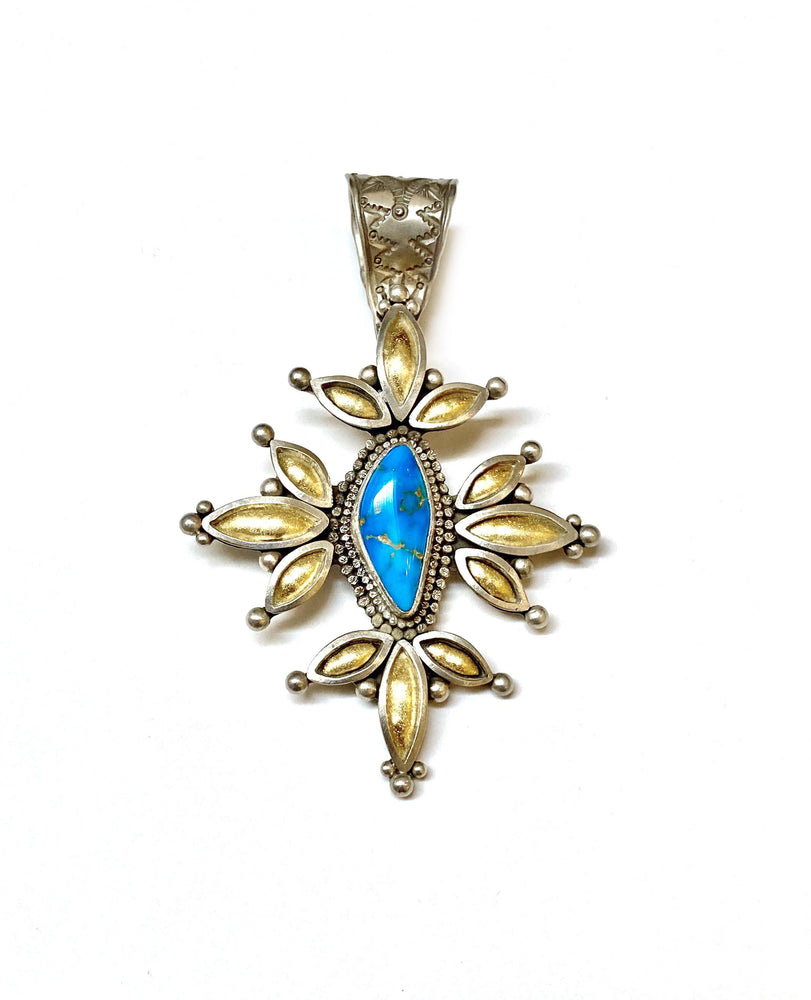 Blue Gem Flower Pendant