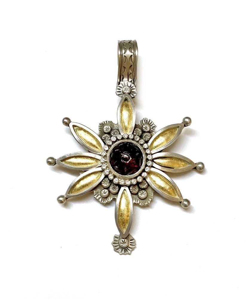 Carved Garnet Flower Pendant
