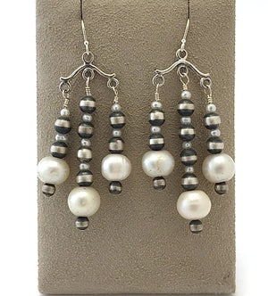 Chandelier Fresh Water Pearl Earrings-Jewelry-Lawrence Baca-Sorrel Sky Gallery